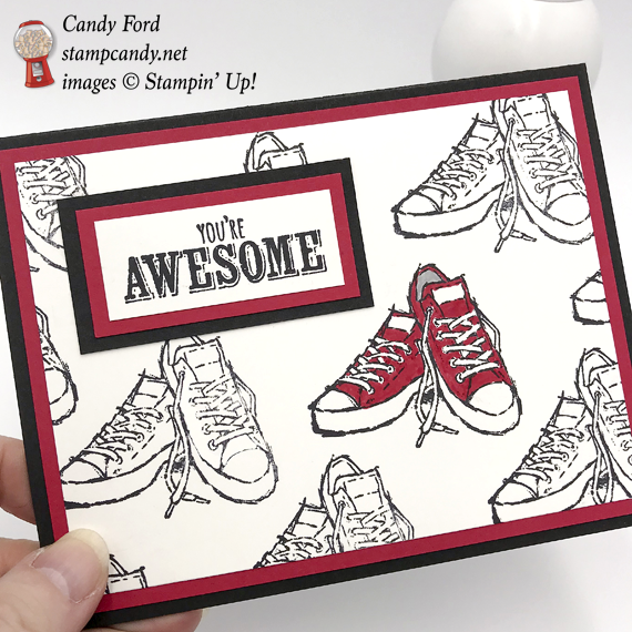Stampin' Up! Epic Celebration You're Awesome Shoes handmade card by Candy Ford of Stamp Candy