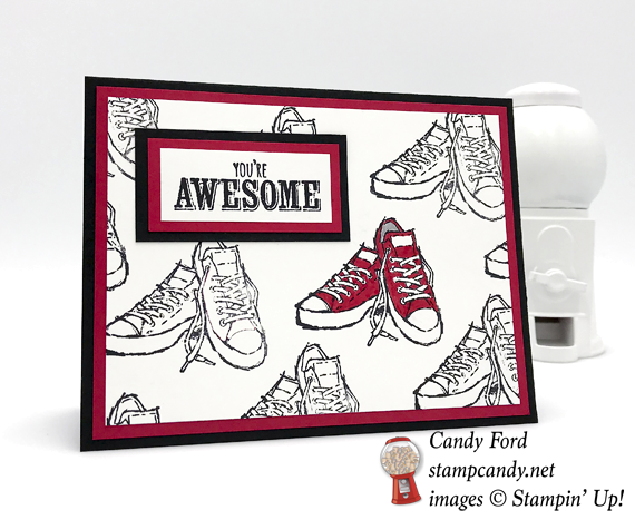 Stampin' Up! Epic Celebration You're AwesoStampin' Up! Epic Celebration You're Awesome Shoes handmade card by Candy Ford of Stamp Candyme Shoes by Candy Ford of Stamp Candy