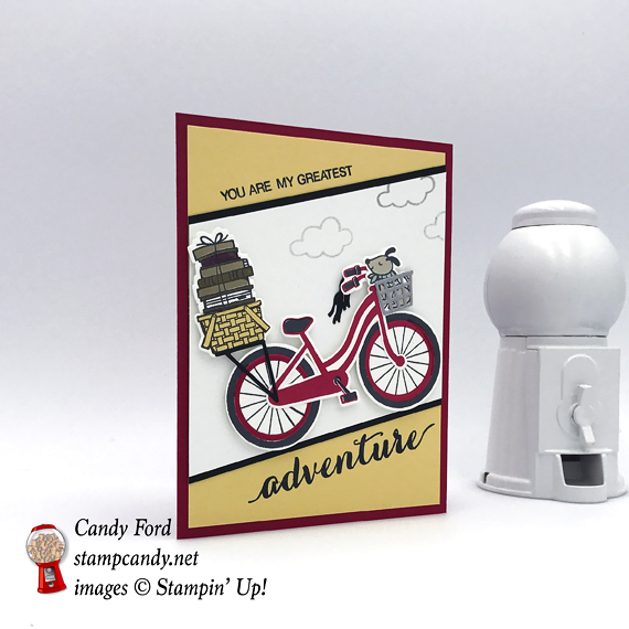Handmade card that tells them You Are My Greatest Adventure featuring the build a bike framelits, made by Candy Ford of Stamp Candy
