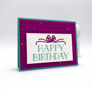birthday card using Big on Birthdays stamp set and Basket Weave Dynamic embossing folder by Stampin' Up! #stampcandy