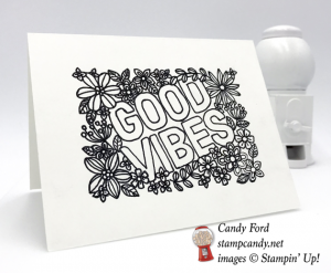 Black and White ready to color Stampin Up Good Vibes by Candy Ford of Stamp Candy