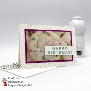 Happy Birthday card made using the Eclectic Expressions Sale-a-bration stamp set and Picture Perfect Party DSP by Stampin