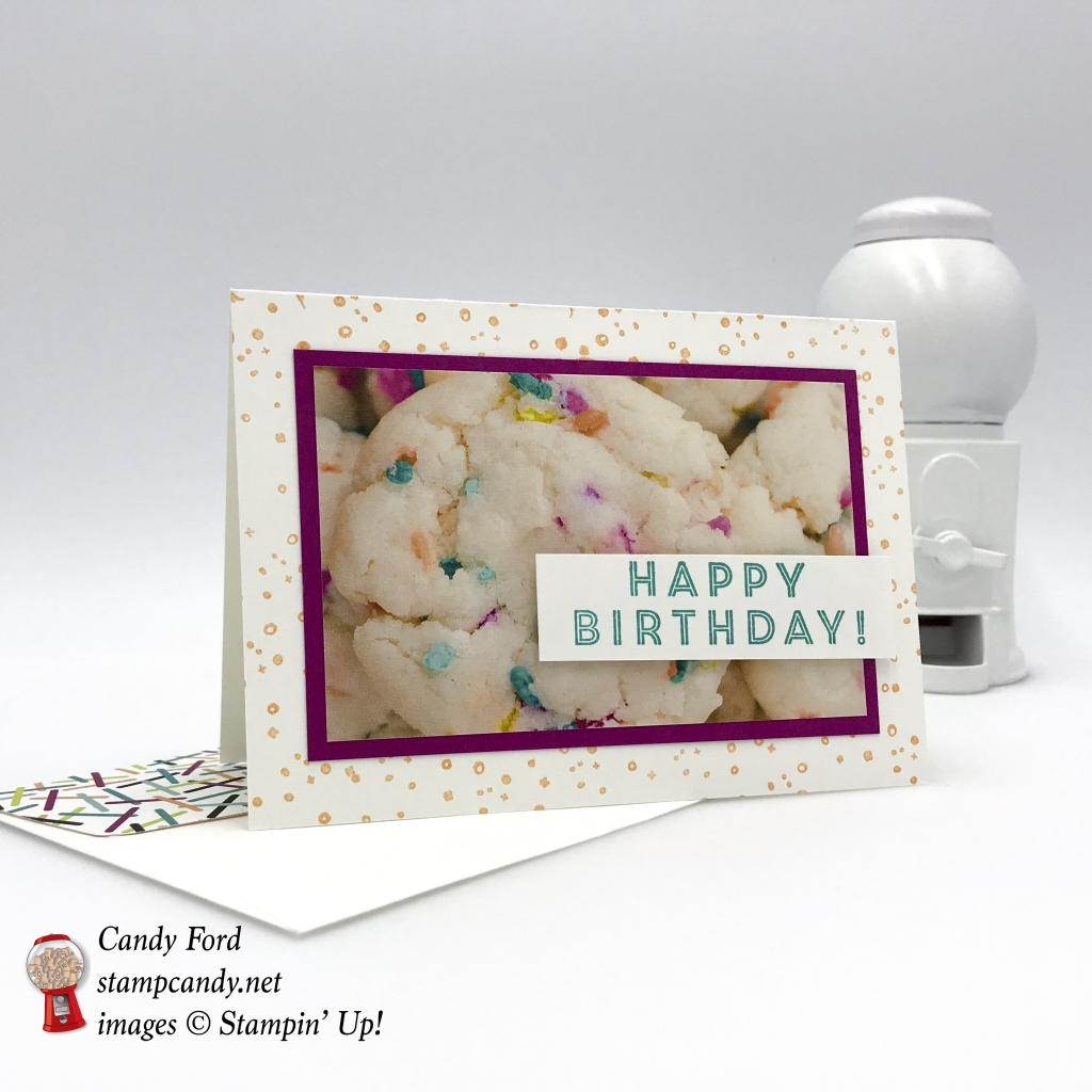 Happy Birthday card made using the Eclectic Expressions Sale-a-bration stamp set and Picture Perfect Party DSP by Stampin' Up! #stampcandy