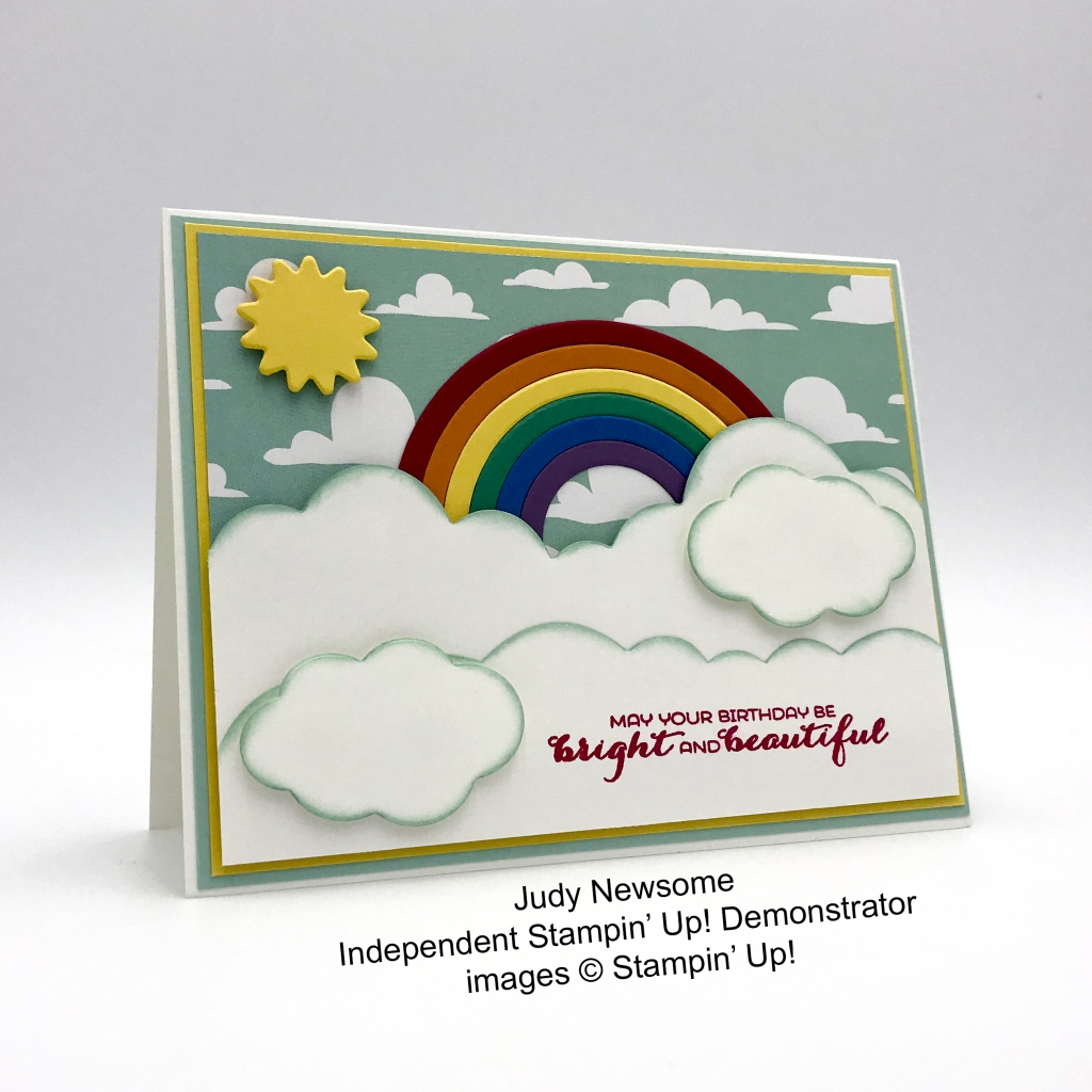 Cute card made by Judy Newsome, Independent Stampin' Up! Demonstrator using the Sunshine & Rainboes bundle.