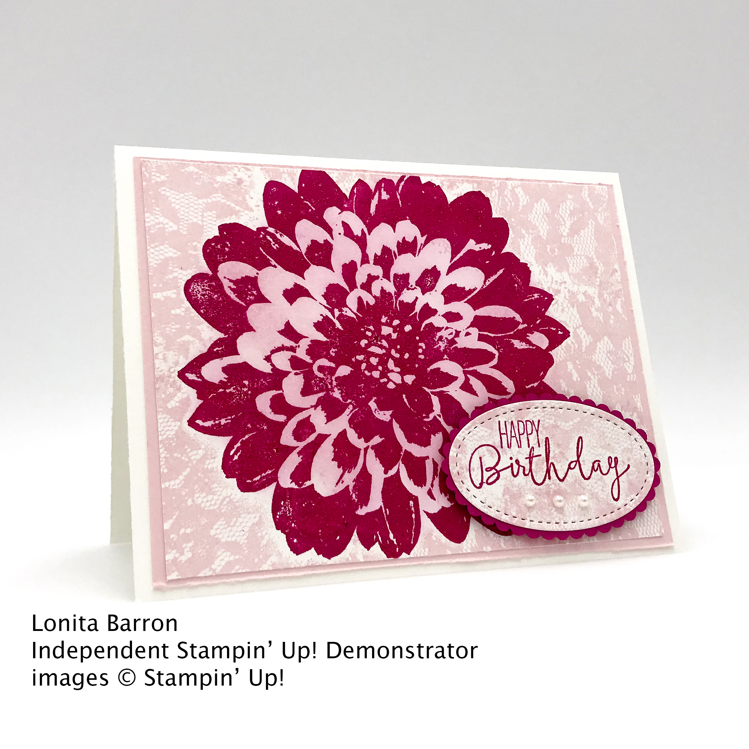 Happy Birthday card made with Stampin' Up! Definitely Dahlia stamp set by Lonita Barron, Candy Hearts #stampcandy
