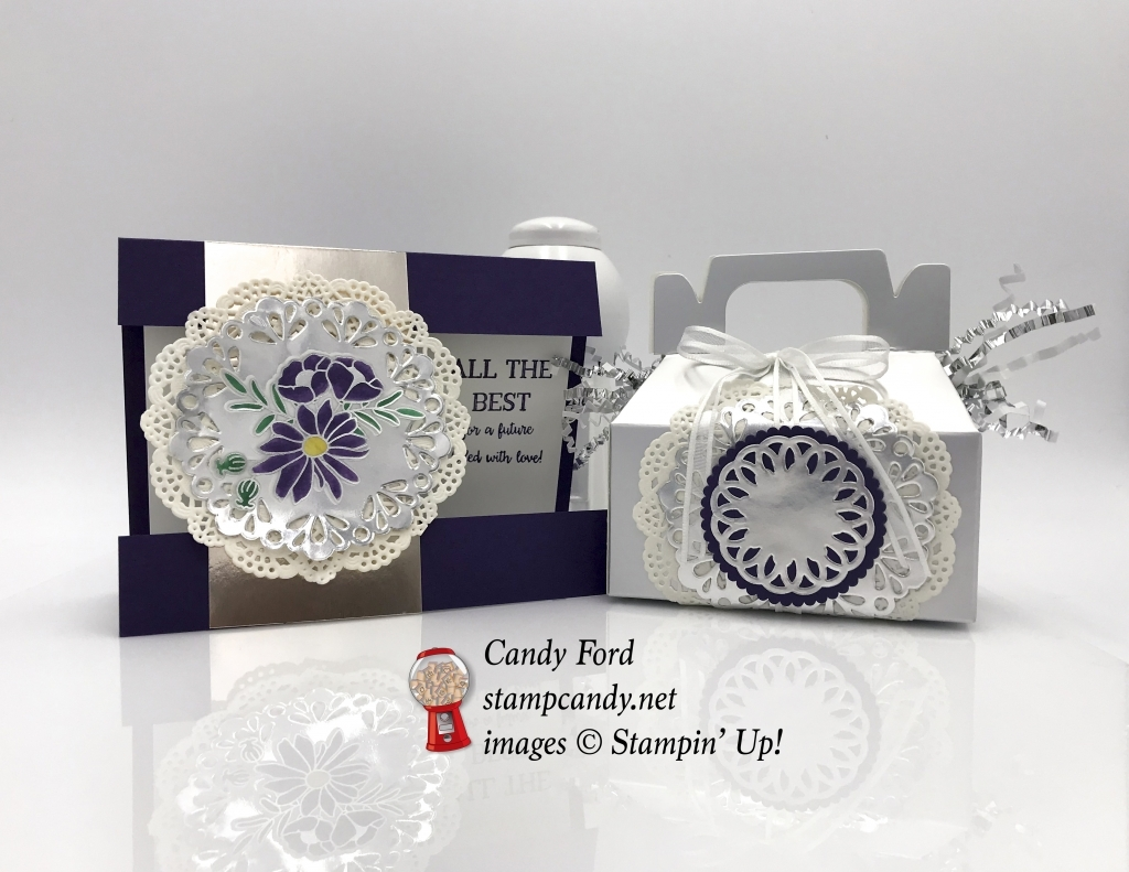 Wedding card or Anniversary Card made with the Better Together stamp set, Silver Gable Boxes, doilies, for OSAT blog hop, #osatbloghop #stampcandy