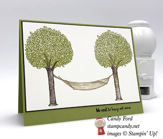 Stampin' Up! In the Trees stamp set hand stamped hammock card made by Candy Ford of Stamp Candy