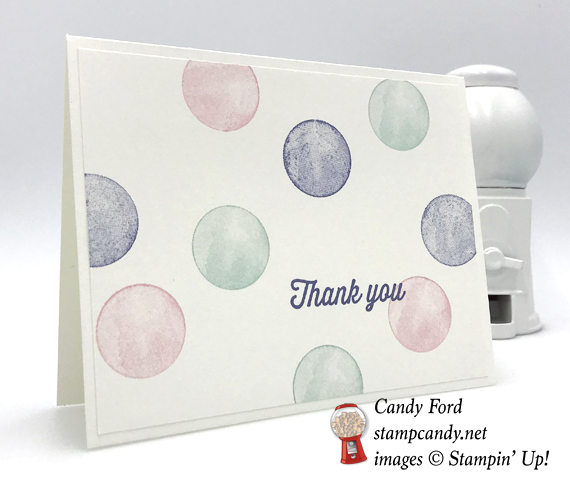 Stampin' Up! handmade polka dot thank you card made by Candy Ford of Stamp Candy