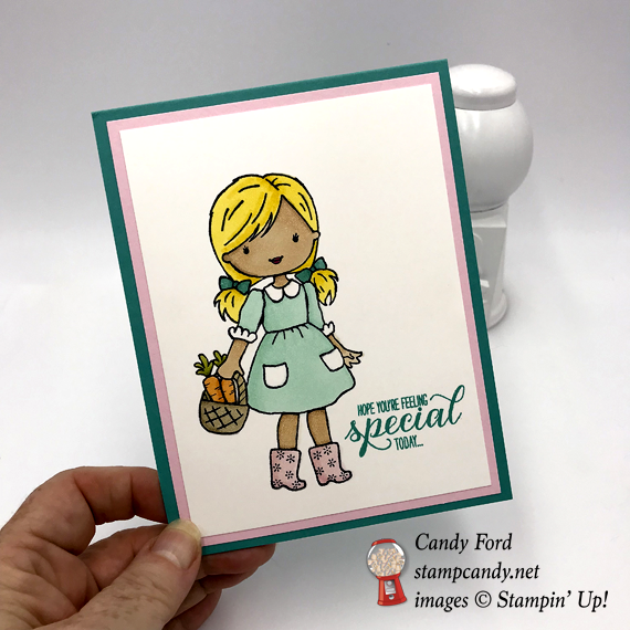 Stampin' Up! Garden Girl handmade card colored with the Stampin' Blends Markers by Candy Ford of Stamp Candy