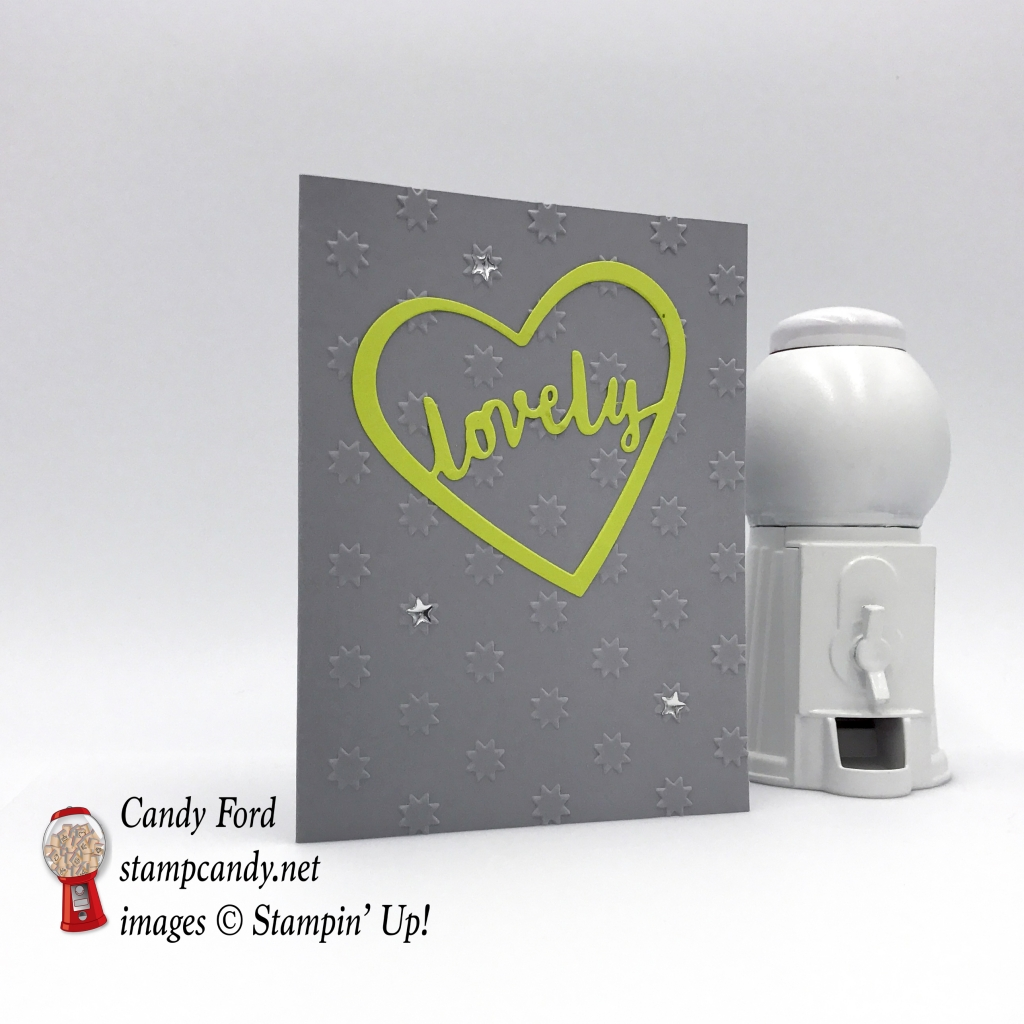 Stampin' Up! oh my stars tief embossing folder and lovely day word thinlit dies and the lovely inside and out stamp set by Candy Ford of Stamp Candy