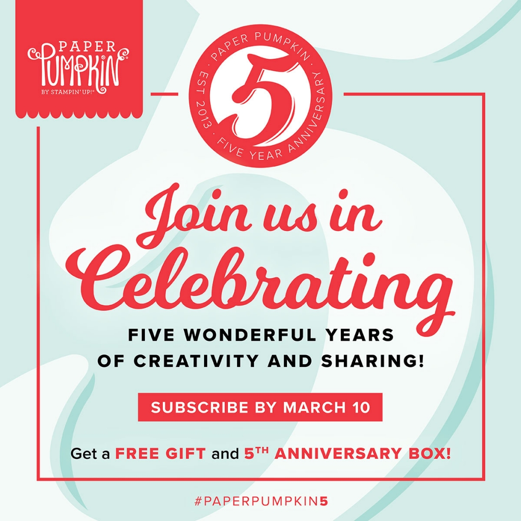 Celebrate Paper Pumpkin's 5th Anniversary with a FREE GIFT! #stampcandy
