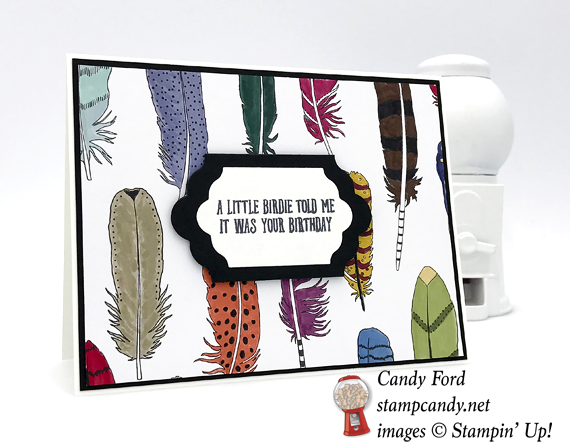 Stampin' Up! Feather Together and Bird Banter stamp sets were used to make this cute card by Candy Ford of Stamp Candy