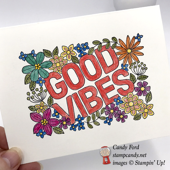 Stampin' Up! Good Vibes stamp set was used to make this cute coloring card by Candy Ford of Stamp Candy