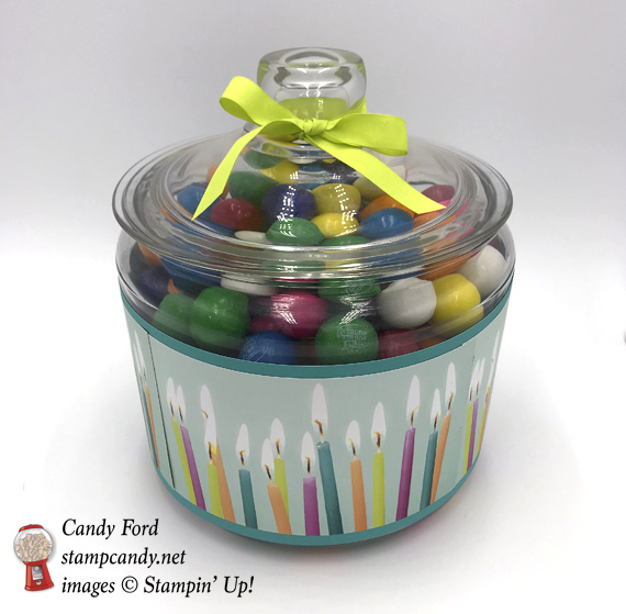Jar of gumballs decorated with Stampin' Up! Picture Perfect Birthday DSP made by Candy Ford of Stamp Candy