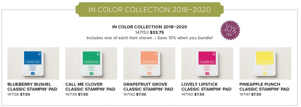 2018-2020 In Color Collection Ink Pads early release from Stampin' Up! #stampcandy