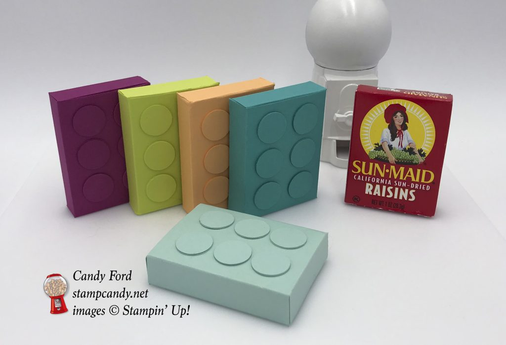 "Child's birthday party favors, raisins in Lego boxes, made with Stampin' Up! card stock and 3/4"" Circle Punch. #stampcandy"