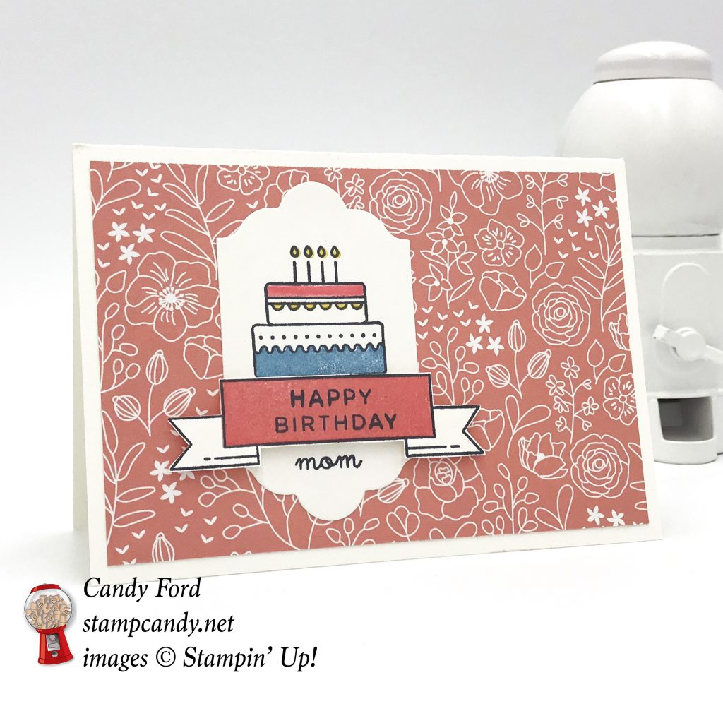 Happy Birthday mom mother card made with World's Best Trophy stamp set, Lotf of Labels Framelits Dies, Sweet Soiree DSP by Stampin' Up! #stampcandy