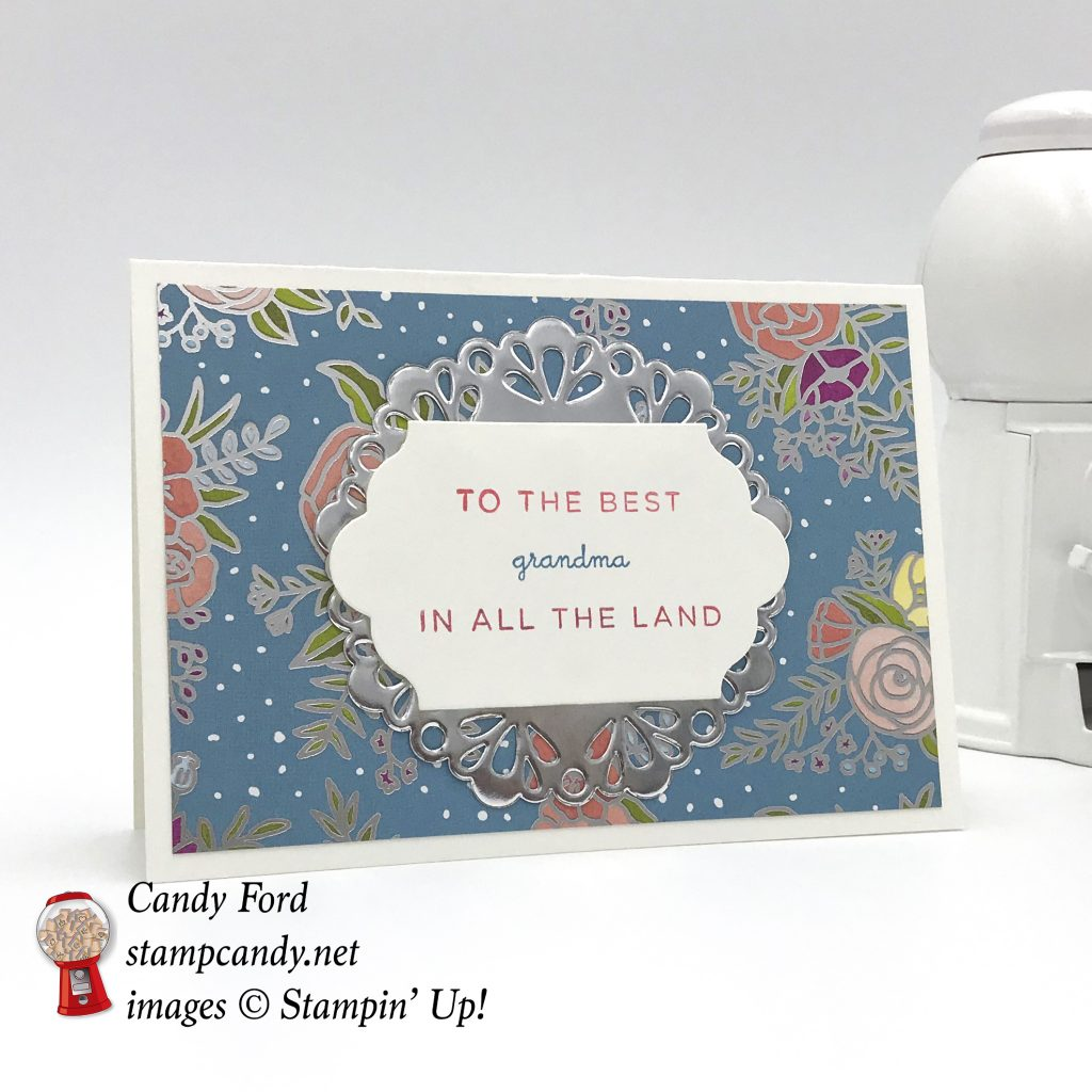 To the Best Grandma card made with World's Best Trophy stamp set, Lots of Labels Framelits Dies, Sweet Soiree DSP, Whisper White Note Cards & Envelopes by Stampin' Up! #stampcandy
