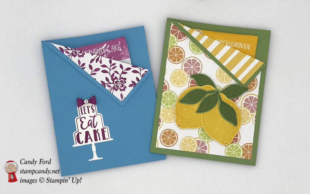 Celebration Time and Lemon Zest bundles birthday cake and lemonade gum gifts, Stampin' Up! #stampcandy
