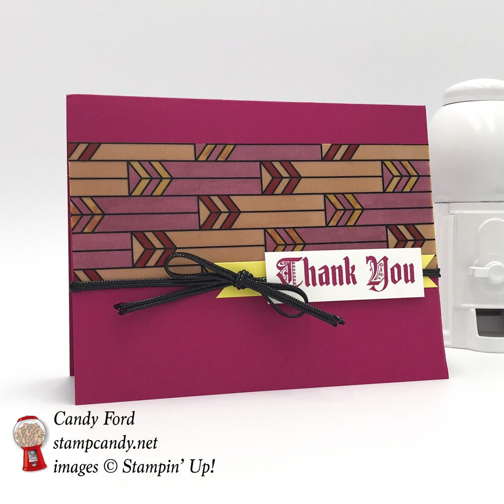 "Sneak peek! Handmade thank you card made with the Painted glass stamp set, Graceful Glass designer Vellum, and Black 1/8"" Cord from the upcoming 2018-2019 Stampin' Up! Annual Catalog. #stampcandy"