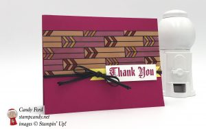 "Sneak peek! Handmade thank you card made with the Painted glass stamp set, Graceful Glass designer Vellum, and Black 1/8"" Cord from the upcoming 2018-2019 Stampin"