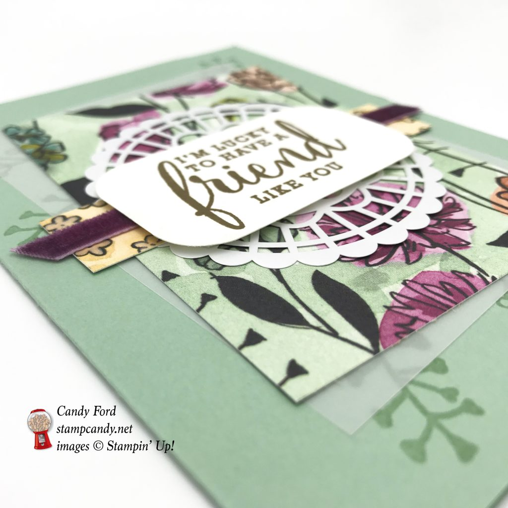 "Card for a friend, I'm lucky to have a friend like you, Love What You Do stamp set, Share What You Love Specialty Designer Series Paper DSP, Pearlized Doilies, 1/4"" Velvel Ribbon in Rich razzleberry, bu Stampin' Up! #stampcandy"