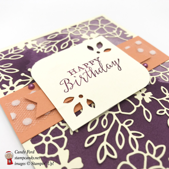 Stampin' Up! Delightfully Detailed Laser Cut Designer Series paper handmade birthday card made by Candy Ford of Stamp Candy