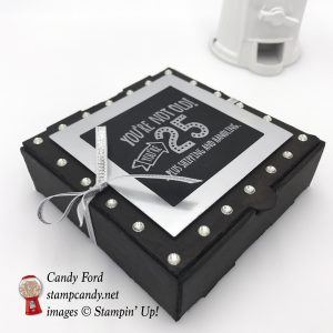 Five For All stamp set and a Mini Pizza Box by Stampin' Up! create a fun gift or party favor box for an Over the Hill type birthday party. #stampcandy