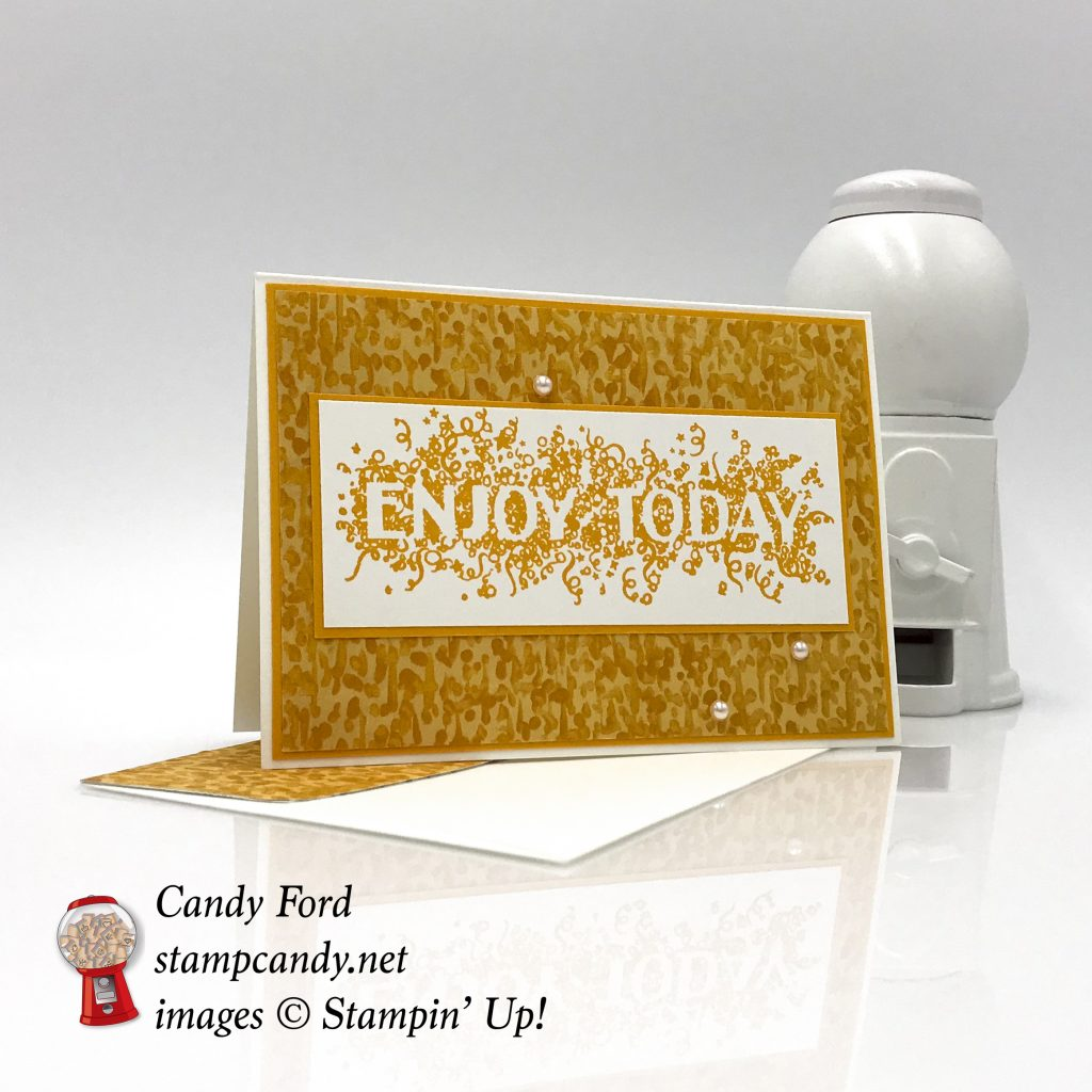 Enjoy Today card made with Big Wishes stamp set and Garden in Bloom Designer Series Paper by Stampin' Up! birthday card, wedding card #stampcandy