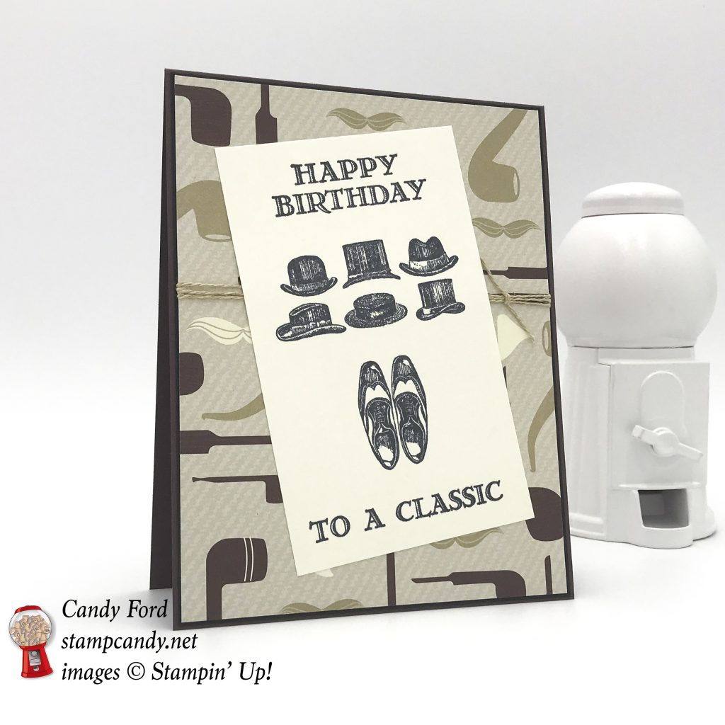 Happy Birthday card to a Classic, Guy Greetings stamp set and True Gentleman DSP by Stampin' Up! #stampcandy
