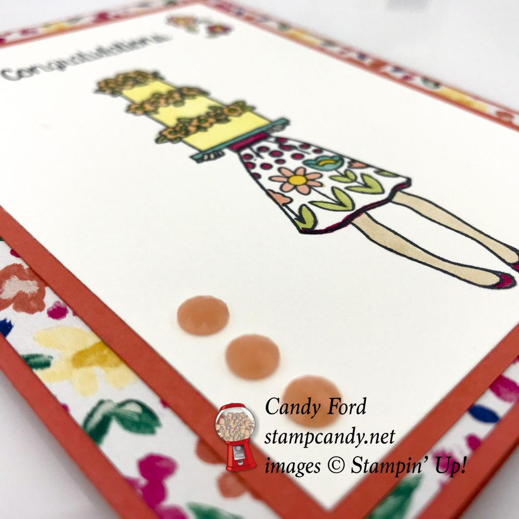 Hand Delivered congratulations card with Gardem Impressions DSP bu Stampin Up! #stampcandy