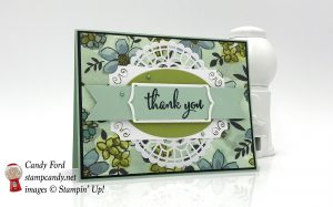 Thank You card made with the brand new Share What You Love bundle, Love What You Do stamp set, Share What You Love paper, Pearlized Doilies, SWYL Embellishment Kit, SWYL Artisan Pearls by Stampin
