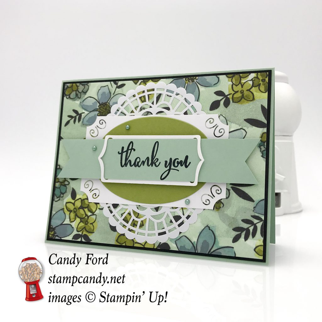 Thank You card made with the brand new Share What You Love bundle, Love What You Do stamp set, Share What You Love paper, Pearlized Doilies, SWYL Embellishment Kit, SWYL Artisan Pearls by Stampin' Up! #stampcandy