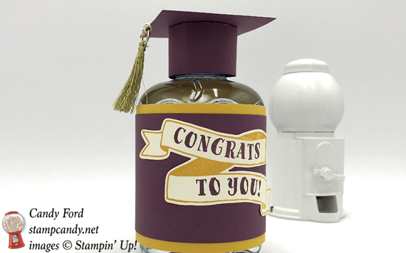 Stampin' Up! Banners For You Graduation Cap water bottle by Candy Ford of Stamp Candy