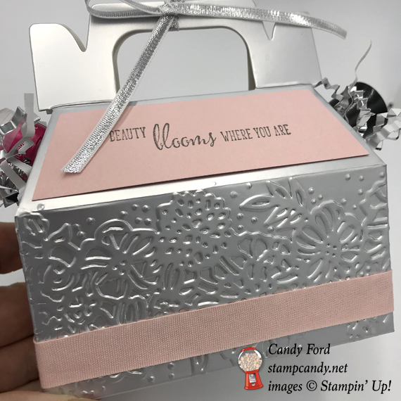 Stampin Up Silver Gable Box Powder Pink Dry Embossed decorated gift box by Candy Ford of Stamp Candy