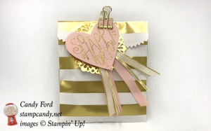 Stampin Up Striped Treat Bag with Gold Binder Clips Born To Be Loved and Sweet and Sassy framelits by Candy Ford of Stamp Candy