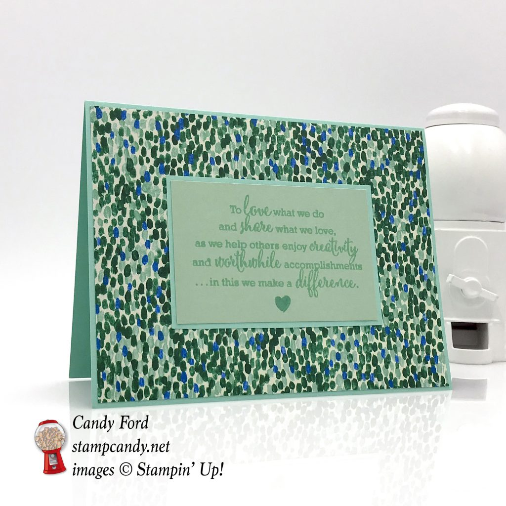 Simple card made with the Statement of My Heart stamp set and Garden Impressions Designer Series Paper by Stampin' Up! #stampcandy