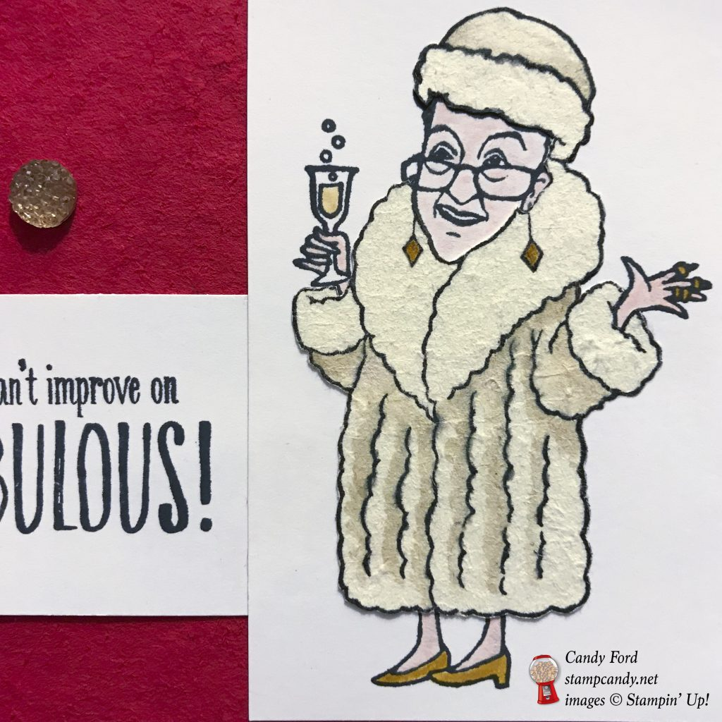 Send this card to someone fabulous! Made with the You've Got Style stamp set and Gold Faceted Gems by Stampin' Up! for the OSAT Blog Hop for May 2018. I created a red carpet and fur coat by burnishing cardstock with a Bone Folder until the layers peeled apart. This gives the paper a suede feel. #stampcandy