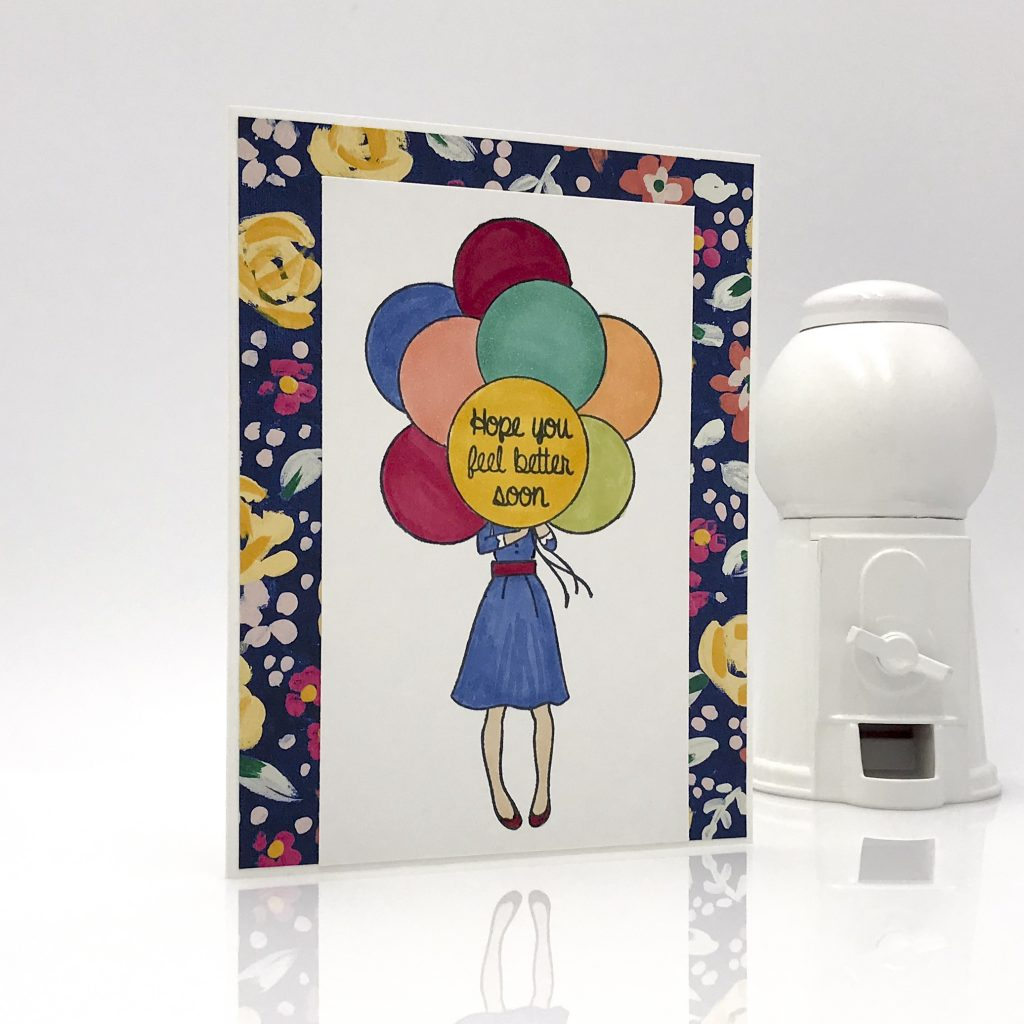 Get Well card, girl holding balloons that say Hope You Feel Better Soon. Hand Delivered host set by Stampin' Up! #stampcandy