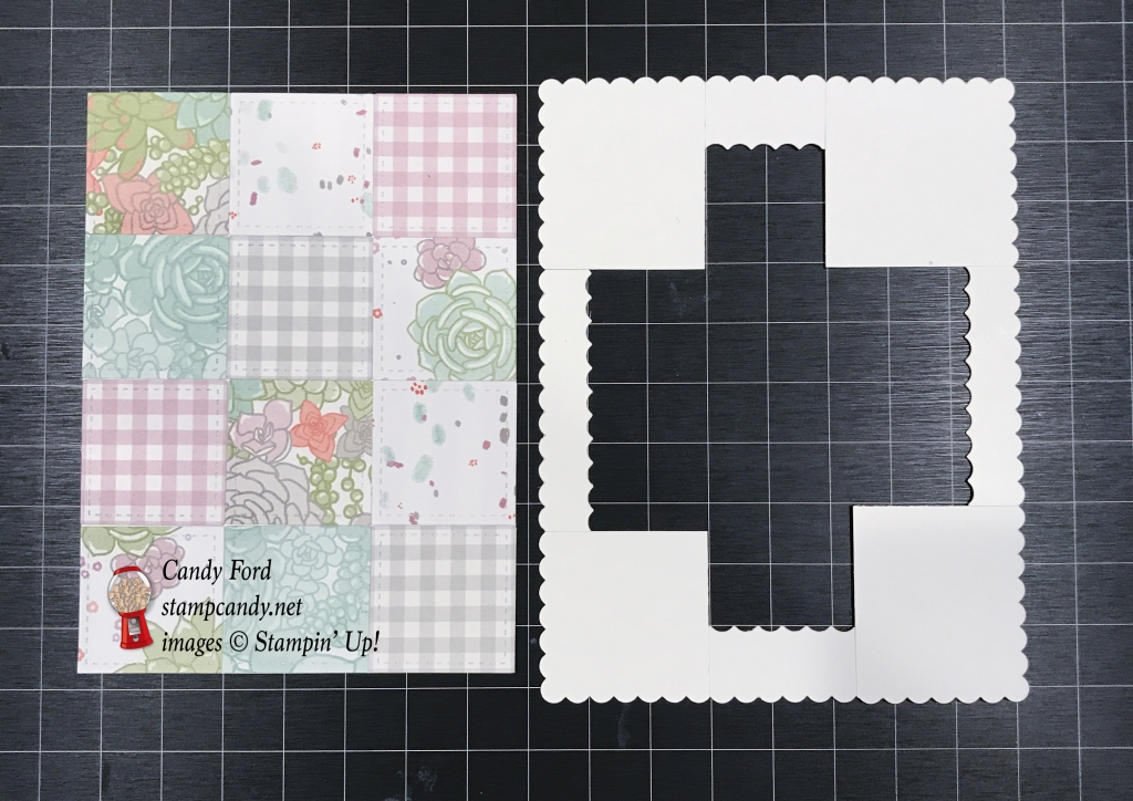 Girly card for ICS Blog Hop made with Succulent Garden DSP, Stitches Shapes and Layering Squares Framelits Dies sets, and Home For You stamp set by Stampin' Up! #stampcandy