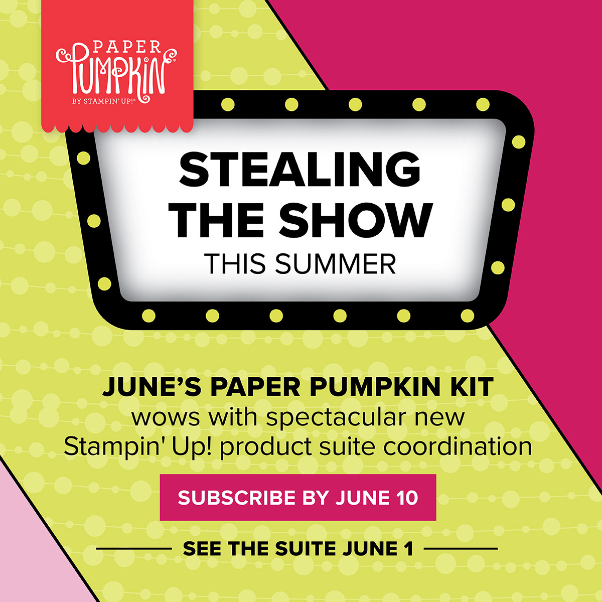 June 2018 Paper Pumpkin kit coordinates with the Broadway Bound Suite in the catalog! #stampcandy