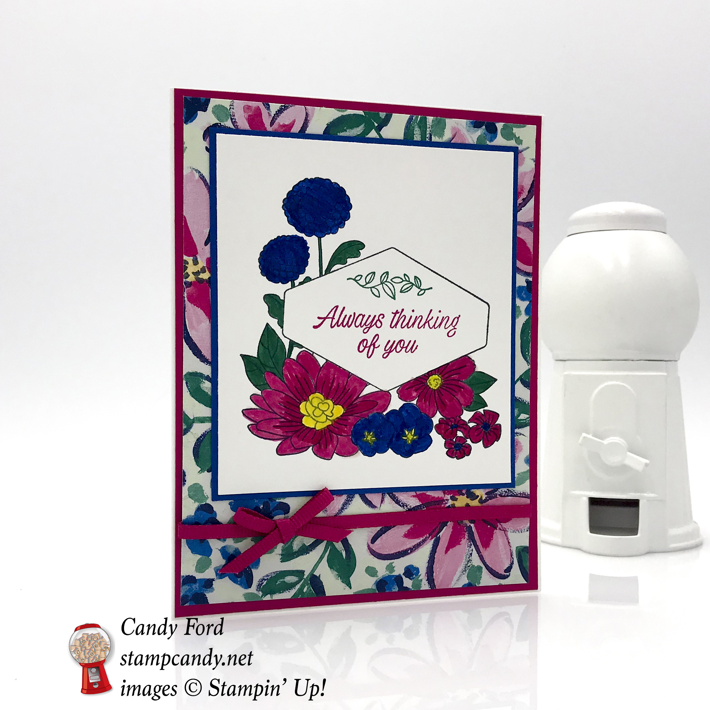 Always thinking of you card made with the Accented Blooms stamp set and Garden Impressions paper by Stampin' Up! #stampcandy