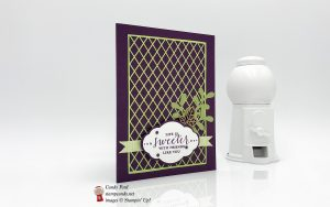Life is Sweeter with Friends like you, card made using the Detailed With Love stamp set, Pretty Label Punch, Pretty Pines Thinlits Dies, and Delightfully Detailed Laser Cut Specialty Paper by Stampin