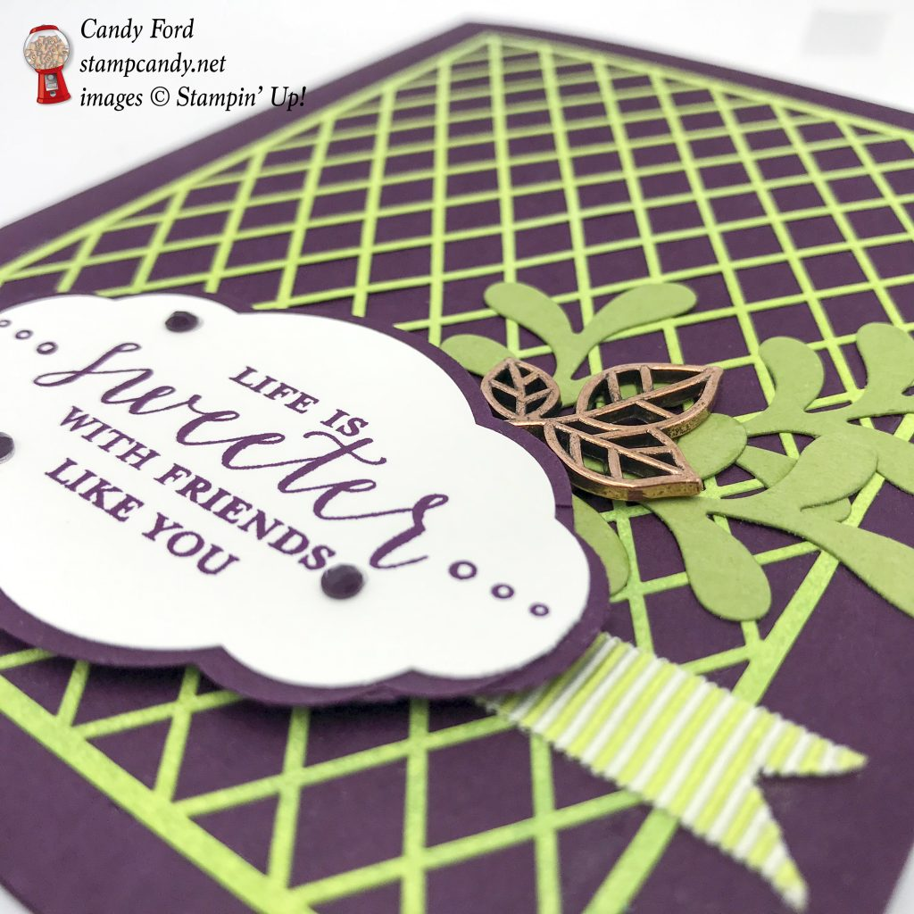 Life is Sweeter with Friends like you, card made using the Detailed With Love stamp set, Pretty Label Punch, Pretty Pines Thinlits Dies, and Delightfully Detailed Laser Cut Specialty Paper by Stampin' Up! #stampcandy