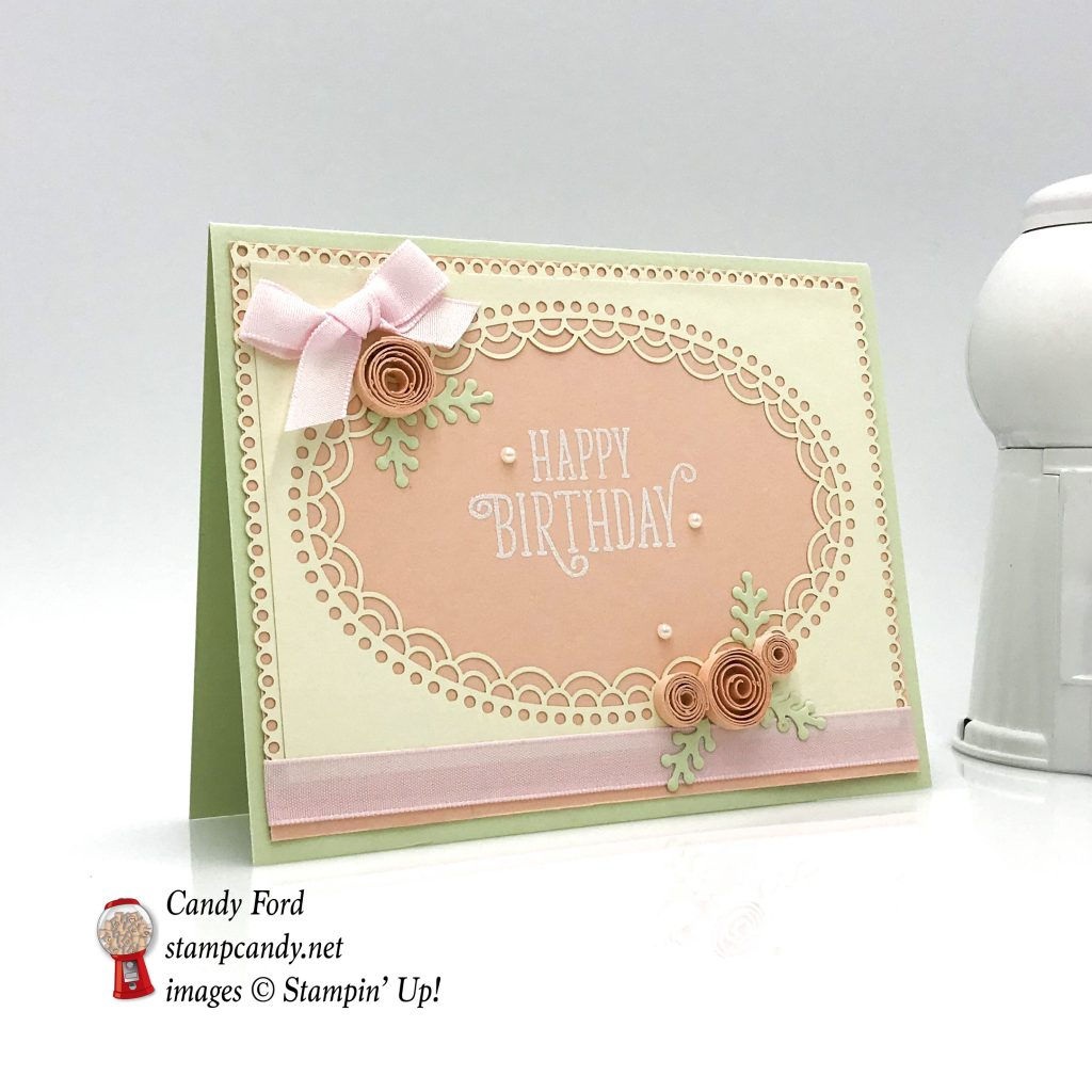 Here's a lovely pink card with quilled flowers. Happy Birthday Gorgeous stamp set and Delightfully Detailed Laser Cut Paper by Stampin' Up! #stampcandy