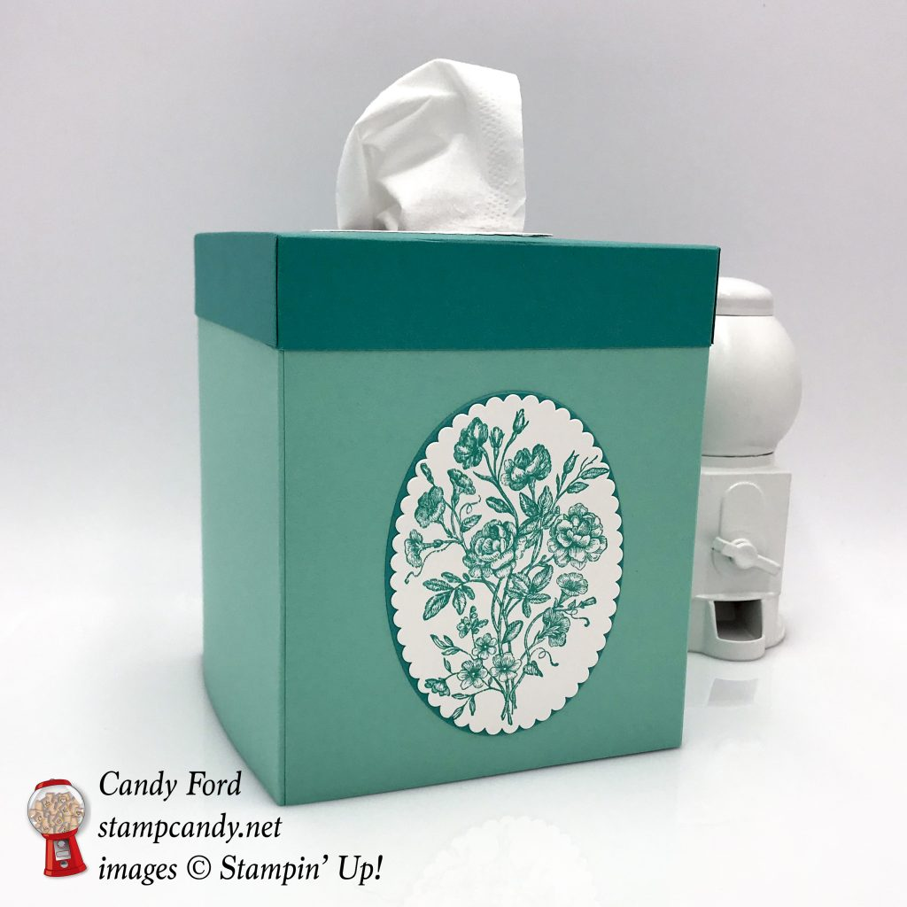 Very Vintage tissue box cover. Stampin' Up! #stampcandy