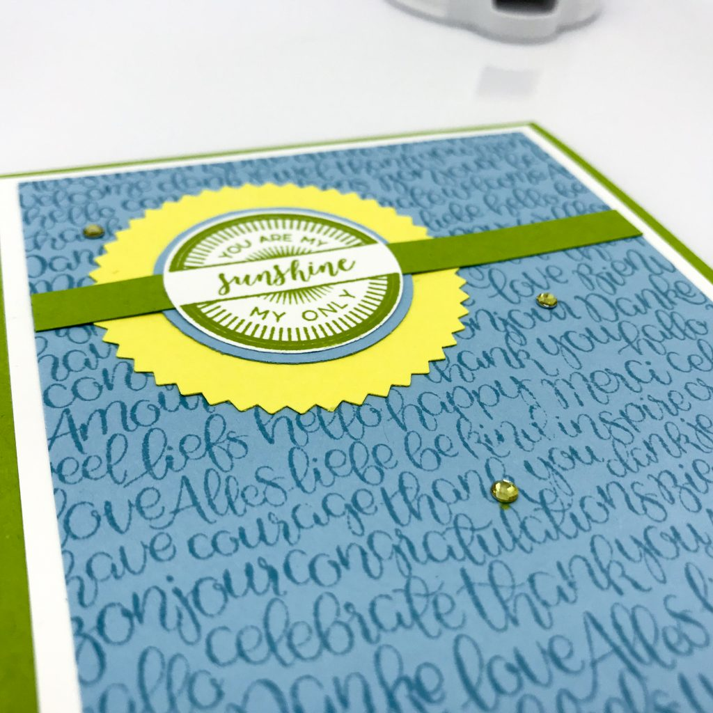 Stitched All Around and Handwritten stamp sets join to make this cheery card. #stampcandy