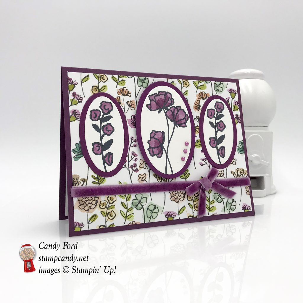 floral card made with the Love What You Do stamp set, Share What You Love paper, and Layering Ovals Framelits Dies by Stampin' Up! #stampcandy