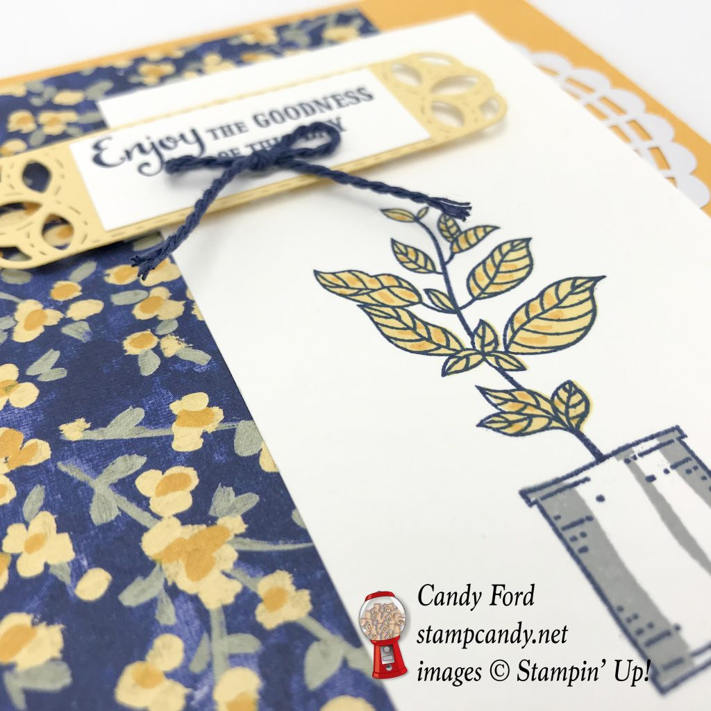 Here's a card made with the Seasoned With Kindness host stamp set, Stitched Label Framelits Dies, and Garden Impressions paper by Stampin' Up! #stampcandy