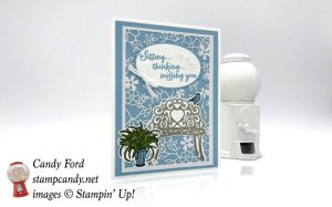 Stampin Up Sitting Pretty stamp set and Pretty Park thinlit dies handmade card by Candy Ford of Stamp Candy